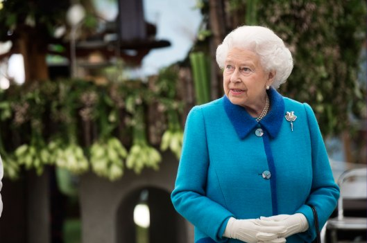 Queen Elizabeth II in the Great Pavilion at the RHS Chelsea Flower Show 2015.